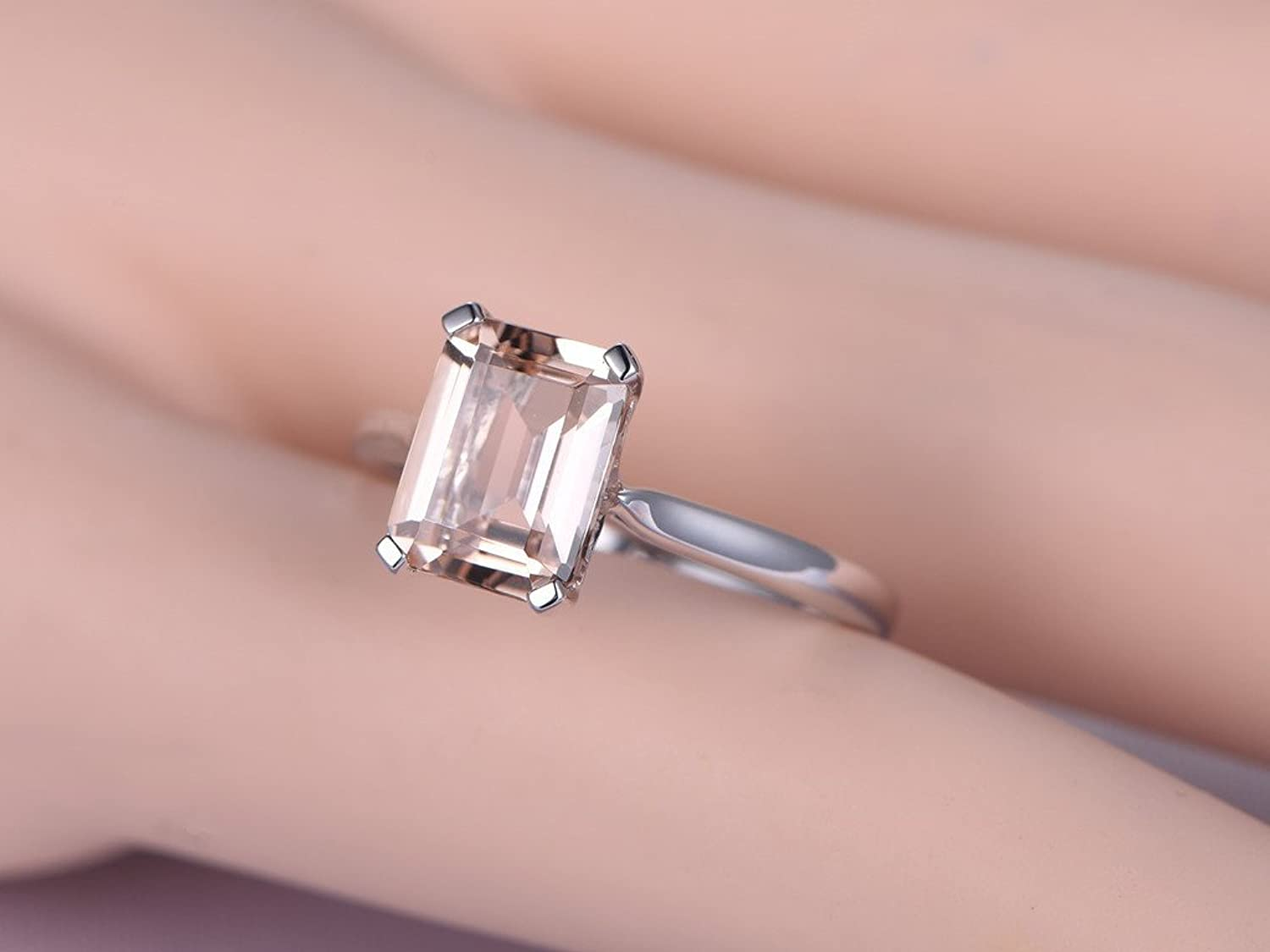 Amazon.com: 7x9mm Emerald Cut Peach Pink Morganite Wedding Ring Set ...