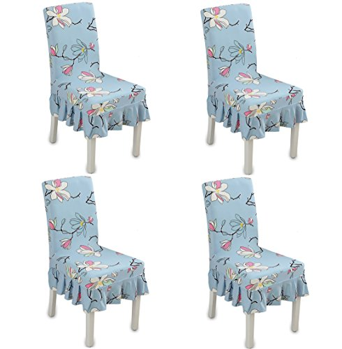 Deisy Dee Blue Flower Pattern Ruffled Long Skirt Dining Chair Slipcovers (Pack of 4) ()