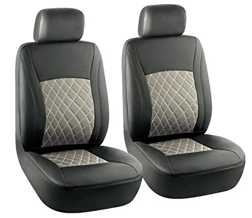 KM WORLD Elegant Premium Leather Car Front Bucket Seat Covers Solid Black & Tan Beige tone Cross Stitched – KMSC-BK/BG-001 Low Back ( 6 PC Set )