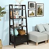 SoBuy Haotian ladder bookcase made of wood, book shelf,stand shelf,FRG116-SCH