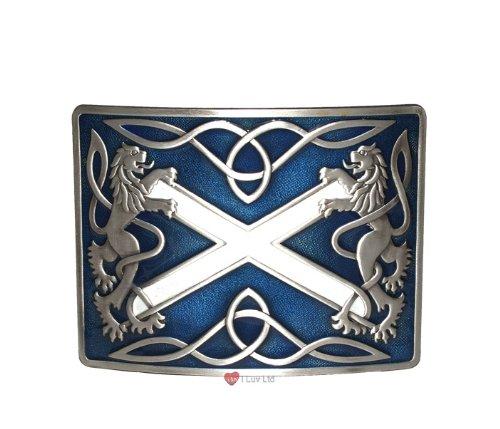 Highland Saltire Kilt Belt Buckle Blue Antique I Luv LTD