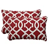 Pillow Perfect Indoor/Outdoor New Geo Corded Rectangular Throw Pillow, Red, Set of 2