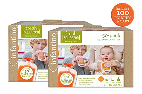 Fresh Food Babies Toddlers - Infantino Squeeze Pouches, 100 Count