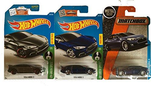 Hot Wheels 2016 Blue & Dark Grey with Matchbox Blue Tesla Model S 3-Car Set
