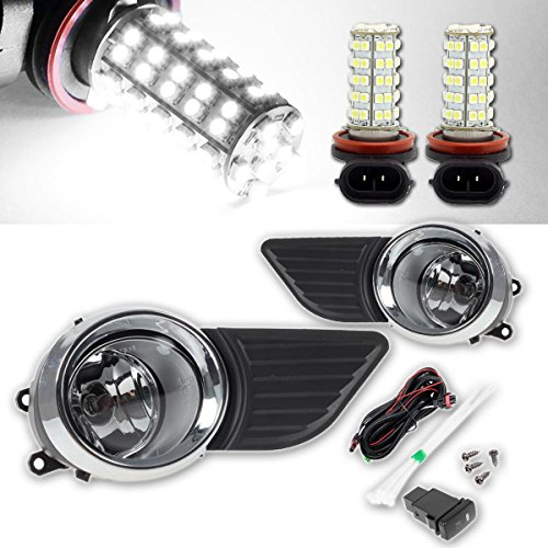 Partsam Clear Bumper Fog Light Assembly Lamp + Harness + Switch Left + Right Pair for 2011-2015 Toyota Sienna + H11 68-Epistar-3528-SMD White LED Bulbs