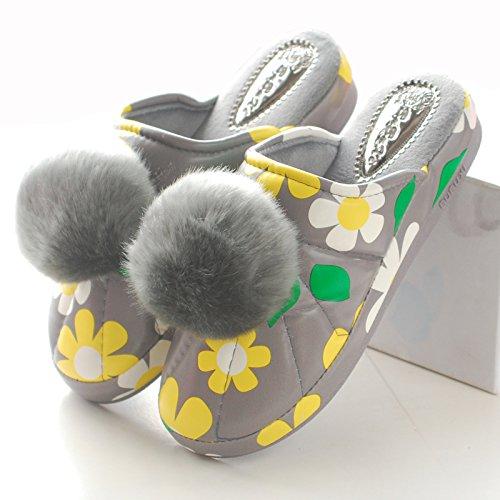 CWAIXXZZ pantofole morbide Autunno e Inverno Hill con cotone pantofole bella femmina capelli spessi sfera pelle pu superiore interna impermeabile tacco alto velluto soggiorno caldo ,35-36( adatto per