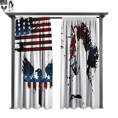 (American Flag, Exterior/Outside Curtains, Set with Bald Eagle Symbol and Stripes Stars Statue of Liberty Grunge Retro, for Patio Light Block Heat Out Water Proof Drape (W120 x L108 Inches,)
