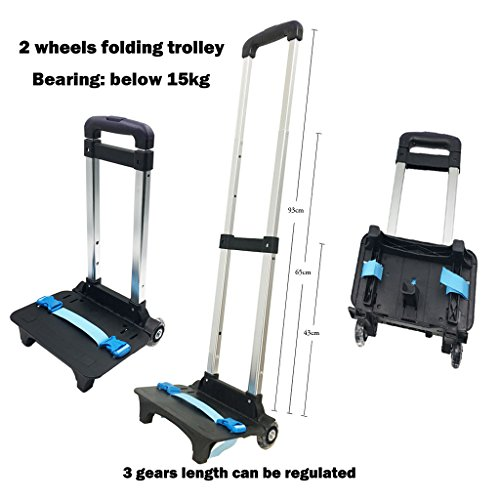 Amazon.com | Backpack Trolley - Wheeled Trolley Hand Aluminium Alloy Folding Trolley Cart for Backpack (Blue, 2 Wheels) | Luggage Carts