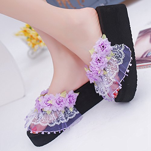 Heel Flowers Lace Flop Phoenix High T Sandals Beach Flip Womens JULY Ladies Wedge Black Anti Slippers Slip 04wpYPq