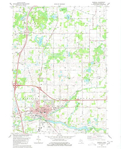 YellowMaps Marshall MI topo map, 1:24000 Scale, 7.5 X 7.5 Minute, Historical, 1980, Updated 1980, 26.7 x 21.9 in - Paper for $<!--$20.95-->