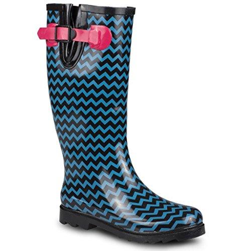 Twisted Frauen Drizzy Tall Cute Gummiregen Stiefel Schwarzer und blauer Chevron