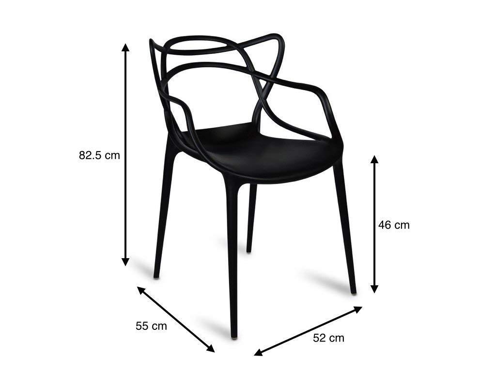 Set di 4 sedie in Stile Moderno Colore: Nero Master per Interni ed Esterni