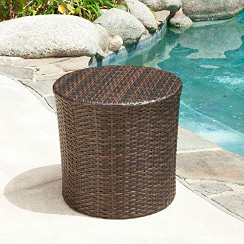 Christopher Knight Home 221495 Overton Outdoor Wicker Barrel Side Table, 16.75 inches high x 17.5 inches Wide 17.5 inches deep, Brown