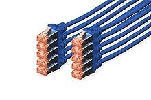 DIGITUS Professional - Cable de Red (3 m, Cat6, S/FTP (S-STP), RJ-45, RJ-45, Azul), 10 pezzi