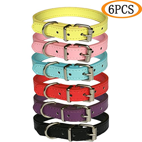 KZHAREEN Classic Adjustable Soft Leather Pet Dog Collar for Small Dogs Cats Puppy(6 pcs/set) ()