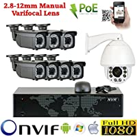 8 Channel 1080P IP Outdoor / Indoor NVR Security Camera System with 7 x 1080P IP PoE 2.8-12mm Varifocal 180FT IR Bullet Cameras + 1 x 1080P Auto Tracking IP PTZ 20X Optical Zoom Camera + 1 x 8 Ports PoE Switch + Pre-installed 4TB Hard Drive