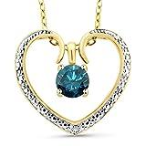 0.55 ct Blue Diamond 18K 2-Tone Gold Plated Silver Diamond Accent Heart Pendant