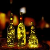 Tuscom Wine Cork Shaped Bottle Cork Shaped Night Fairy String Light,10 Pcs 20 LED Charging Batteries for Xmas Window Bathroom Wedding Festival Holiday (Warm White)