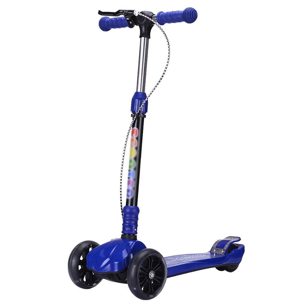 CMXIA Freno a Mano Pieghevole Pieghevole Altezza Regolabile per Bambini Scooter Boy And Girl Scooter a Quattro Ruote Full Flash Adatto per Principianti 3-12 Regalo di Compleanno ( Colore   blu )