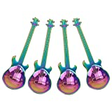 Buorsa 4 Pack Stainless Steel Dessert Drink Mixing Milkshake Spoon Multicolored Guitar Design Spoons for Coffee Tea Tableware