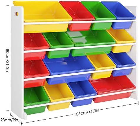 Homfa Kinderregal Spielzeugregal Kinderzimmerregal Aufbewahrungsregal Toy Organizer für Spielzeug, 16 Kästen aus Kunststoff, Mehrfarbig 105 x 23 x 80cm