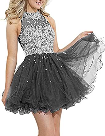 JINGDRESS Short Halter Evening Dresses Sleeveless Beaded Party Gowns Open Back Grey CS