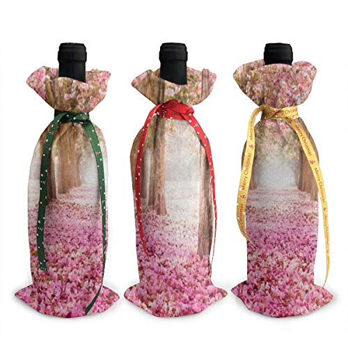 Wedding Pink Flower Tree Wine Bags Wraps Dresses Reusable Beer Red Wine Bottle Gift Bags Travel Protector Package 3 Pack