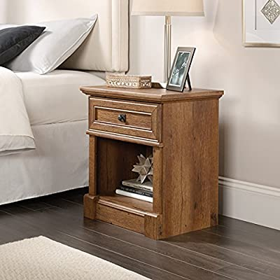 Sauder Palladia Night Stand, Vintage Oak finish - Drawer with metal runners and safety stops features patented t-lock assembly system Open shelf provides additional storage Vintage Oak finish - nightstands, bedroom-furniture, bedroom - 51nrRFIn2sL. SS400  -