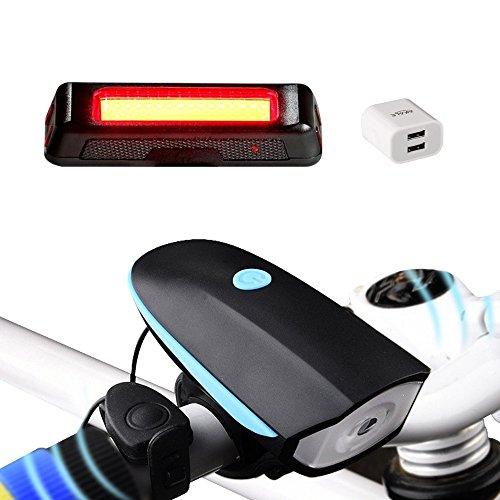Akale Wiederaufladbare LED Fahrradlampe, LED Frontlicht und Rücklicht Für Radfahren, 550lm , 3 Licht-Modi, Fahrradscheinwerfer, Fahrradlicht, Fahrradbeleuchtung Set (2 USB-Kabel &1 Ladegerät)