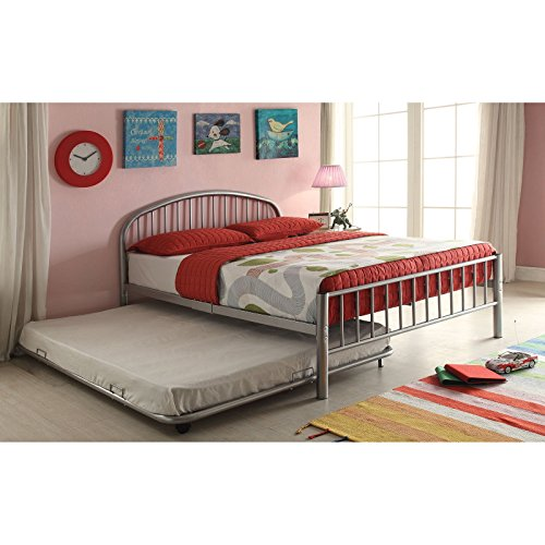 Twin Size Bed, Silver Finish, Slat Support System Included, Slatted Headboard and Footboard, Compact Shaped Space Saving Bed, Made from Metal, Bundle with Expert Guide for Better - Finish Bed Slat