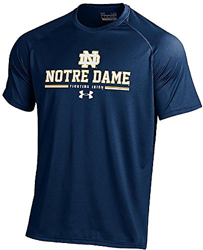 Under Armour Notre Dame Fighting Irish Blue Hi-Tech Short Sleeve Heatgear T Shirt (Large)
