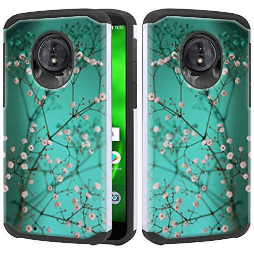 Moto G6 Case, Lacass Heavy Duty Protection and Hybrid Shock Absorption Dual Layer Protector Case Cover for Motorola Moto G (6th Gen) 2018 - Plum Blossom