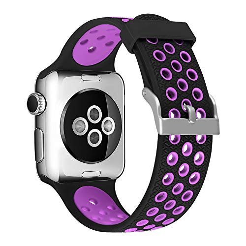 SKYLET Sport Band Compatible with Apple Watch 44mm 38mm 42mm 40mm, Soft Silicone Replacement Sport Wristband Compatible with Apple iWatch Series 4 3 2 1 with Metal Clasp Men Women (No Tracker)
