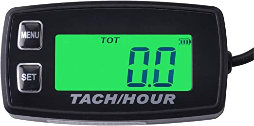 Inductive Tachometer Gauge Engine Hour Meter Boat Maintenance Reminder Backlit Digital Resettable Tacho hour meters for Motorcycle Marine Glider ATV Snow Blower Lawn Mower jet ski pit bike