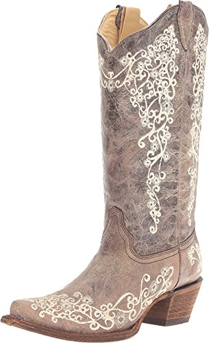 Corral Boots Women Snip Lisa Crater Bone Embroidery Brown 8.5 M Western (Best Corral Womens Cowboy Boots)