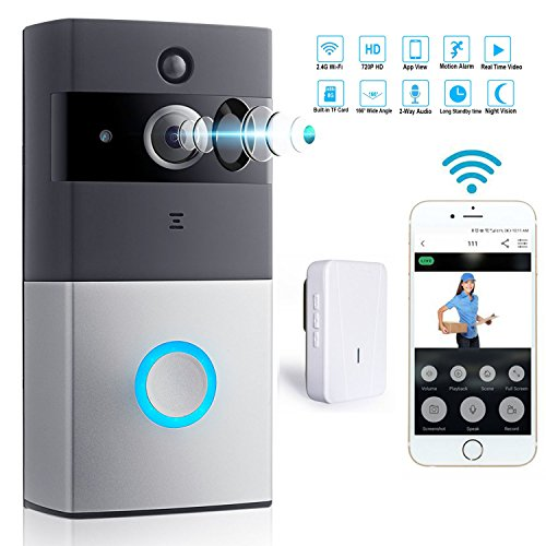 WiFi Video Doorbell With Indoor Chime Smart 720P HD Wireless Alarm system Security Camera with PIR Motion Detection Real-Time Two-Way Talk and Video 8G Memory Storage Inside App Control