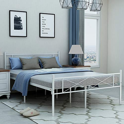 Elegant Home Products Victorian Style Platform Metal Bed Frame Foundation Headboard Footboard Heavy Duty Steel Slabs Full Size in White Finish 720FW (Full)