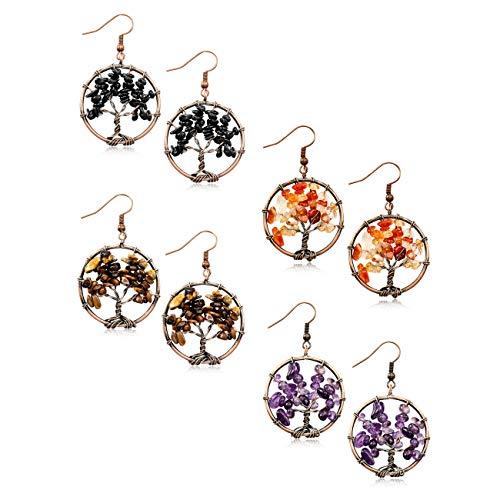 MOWOM 4 Pairs Multicolor Copper Dangle Hook Earrings Simulated Stone Tree Of Life Chakra