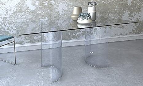 Victa tavolo da pranzo moderno in vetro con basi a semicerchio 180 x