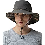 Waterproof Outdoor Wide Brim Sun Hat by Feeker, Fishing Hunting Hiking Sun Boonie Hat for Men & Women(Camo/Black)