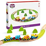 Wooden Railway Beginner Pack Train Set with Magnetic Zoo Carrier Train Cars - 20 Pieces
