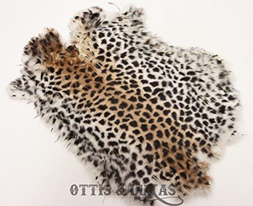 Cheetah Print Tanned Rabbit Fur Hide - Rabbit Pelt With Sewing (09 Cheetah)
