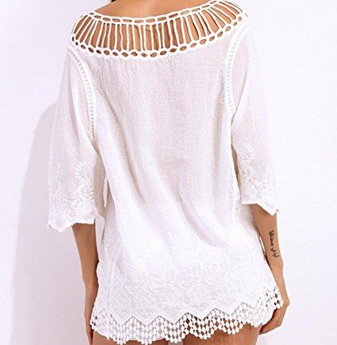 KUWOMINI.Hollow De Punto De Encaje Protector Solar Bikini Blusa Verano Debe Blusa White