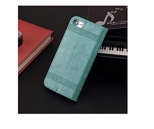 Funda iPhone 7, Funda iPhone 7 Plus, Funda iPhone 6/6S, Funda iPhone 5/5S/SE,Protector de Pantalla de Slim Case Estilo Billetera con Ranuras para Tarjetas, Soporte Plegable, Cierre Magnético(LXT-03) H