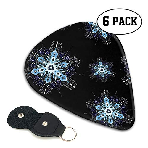 Winter Snowflake Filigree Ultra Light 0.46 Medium 0.71 Heavy 0.96mm Printed Round Flat Celluloid Jazz Electric Acoustic Bass Guitar Pick Ccessories Variety Pack Pocket ()
