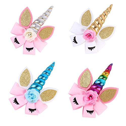 4 Pack of 7 inch Unicorn Hair Bows JoJo Bows for Girls with Hair Clips for Unicorn Barrettes Party Favors