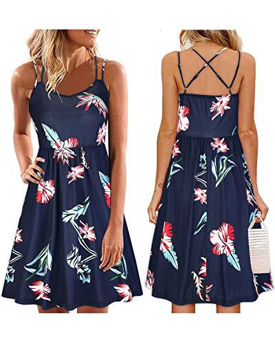 (ULTRANICE Women's Summer Floral Sleeveless Adjustable Spaghetti Backless Short Dress(Floral07,S))