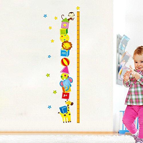 Animals Elephant Giraffe Height Measurement Wall Sticker - 2