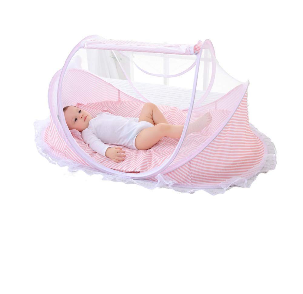 Crib Mosquito net/cart/Three-Piece/Insect-Proof Mosquito/car Portable/Sun Protection Outdoor Travel, Pink, 106560cm