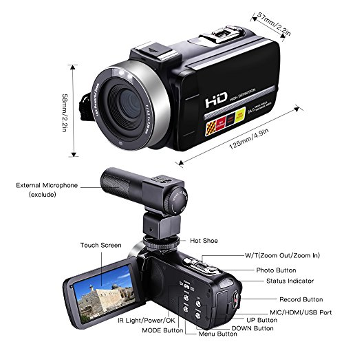 Camcorder Video Camera Full HD 1080p 24.0MP Digital Camera External Microphone Video Recorder Night Vision Webcam with Remote Control by COMI (Image #5)